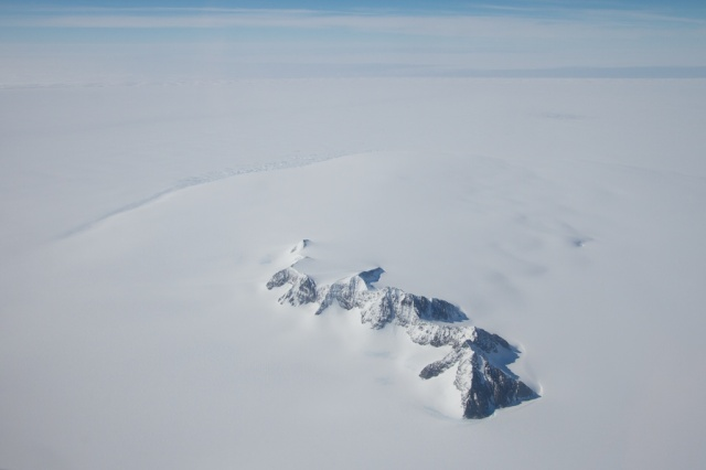 The last nunatak. Beyond this is the vast Larsen Ice Shelf.