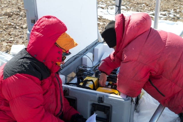 Roger and Terry starting work on the GPS servicing.